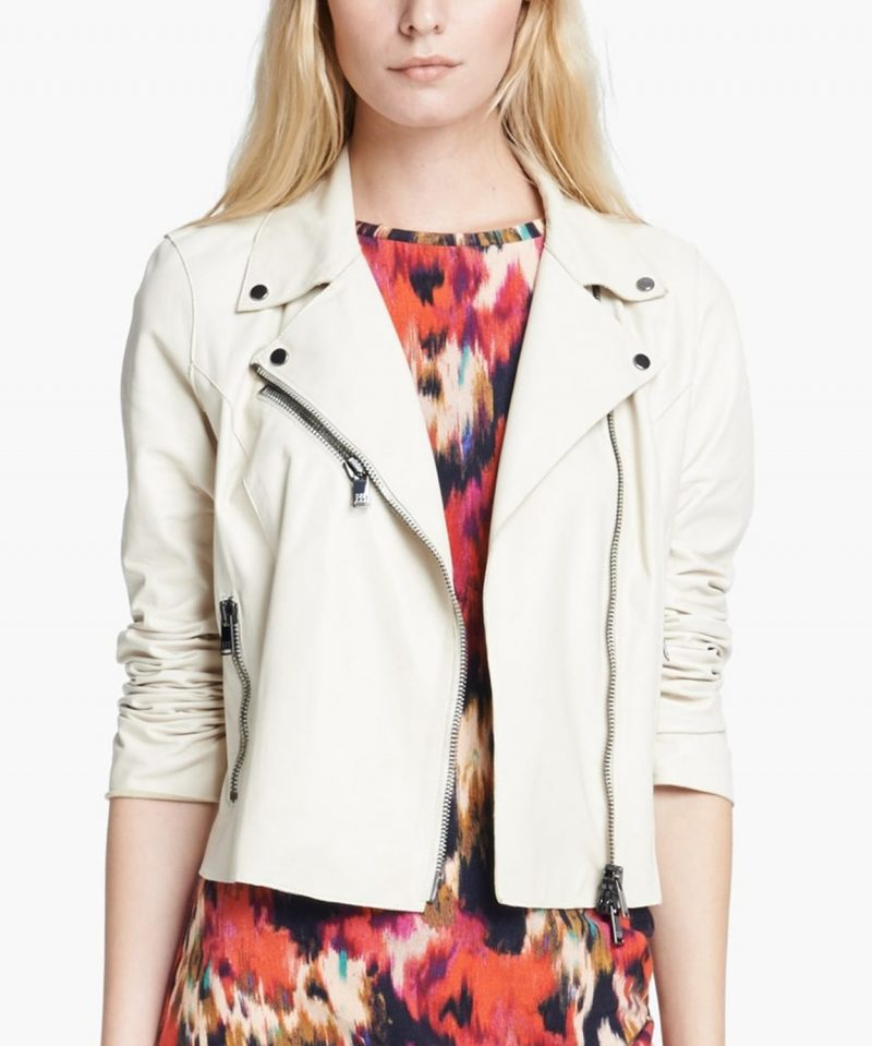 White Rayna James Leather Jacket