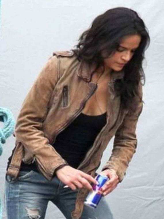 Michelle Rodriguez Brown Suede leather Jacket