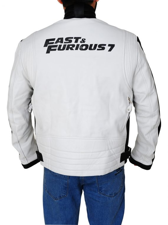 Vin Diesel Fast And Furious 7 Black and White Leather Jacket,