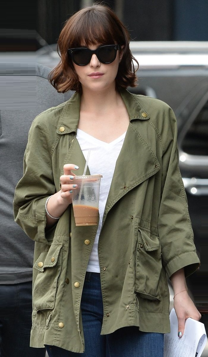 American actress Dakota Johnson Stylish Jacket