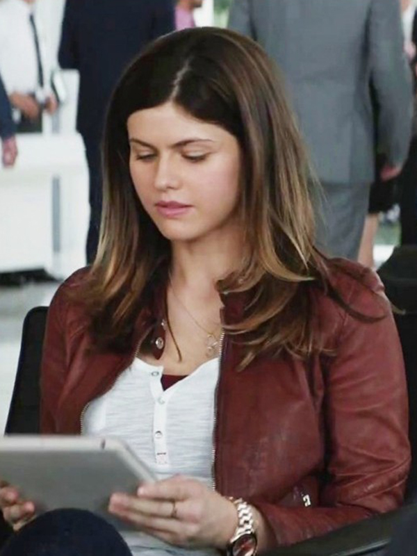 Alexandra Daddario Blake Red Leather Jacket