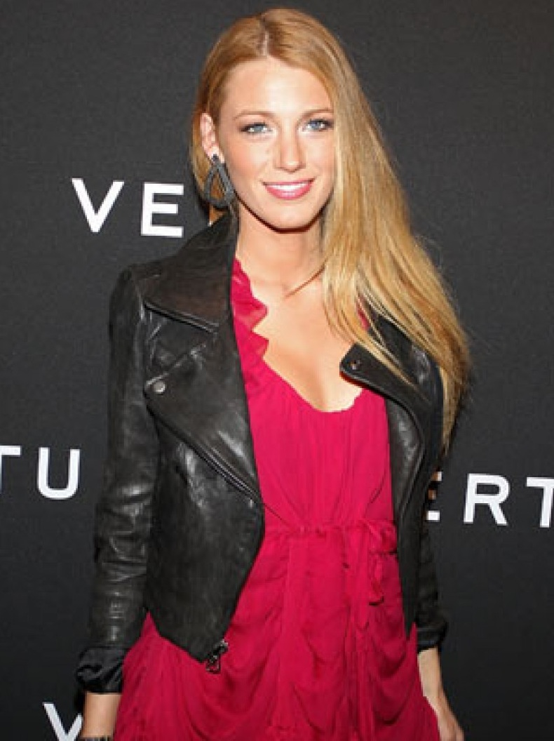 American actress Blake Lively Black leather Jacket