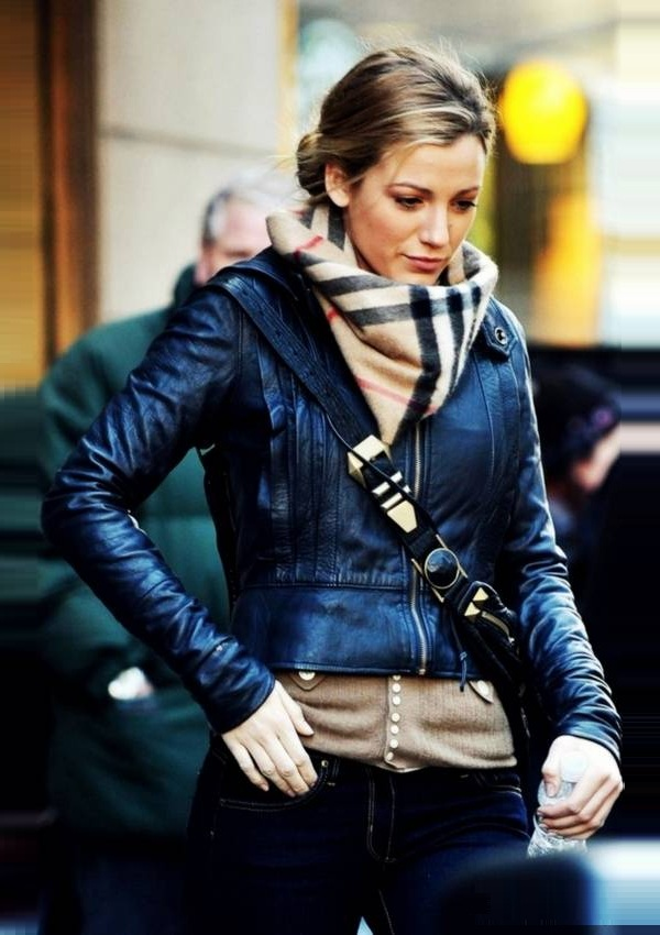 Actress Blake Lively Blue leather Jacket