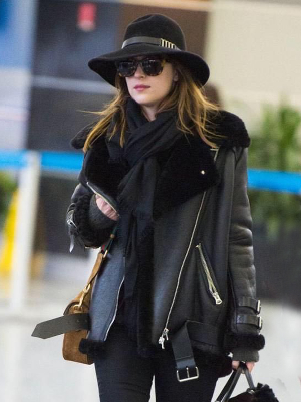 Dakota Johnson Classy Black Coat