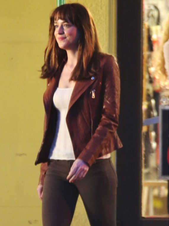 Dakota Johnson Spellbinding Maroon Jacket