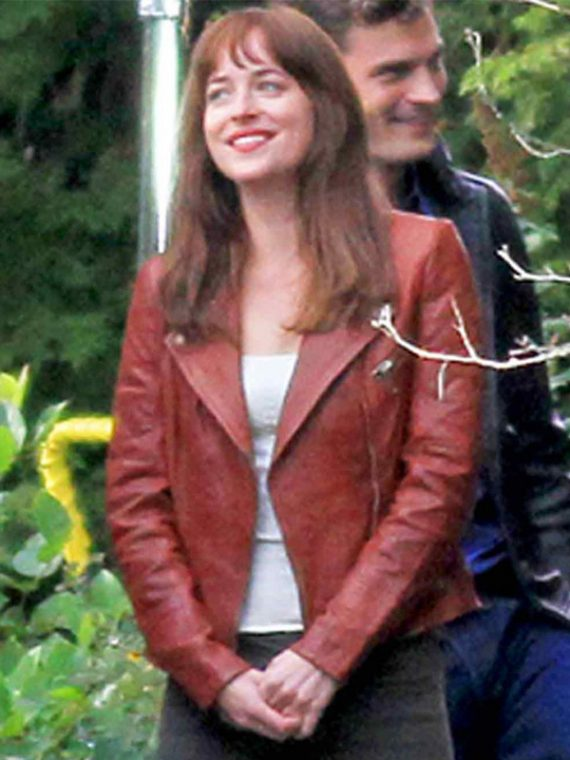 Dakota Johnson Spellbinding Maroon Leather Jacket