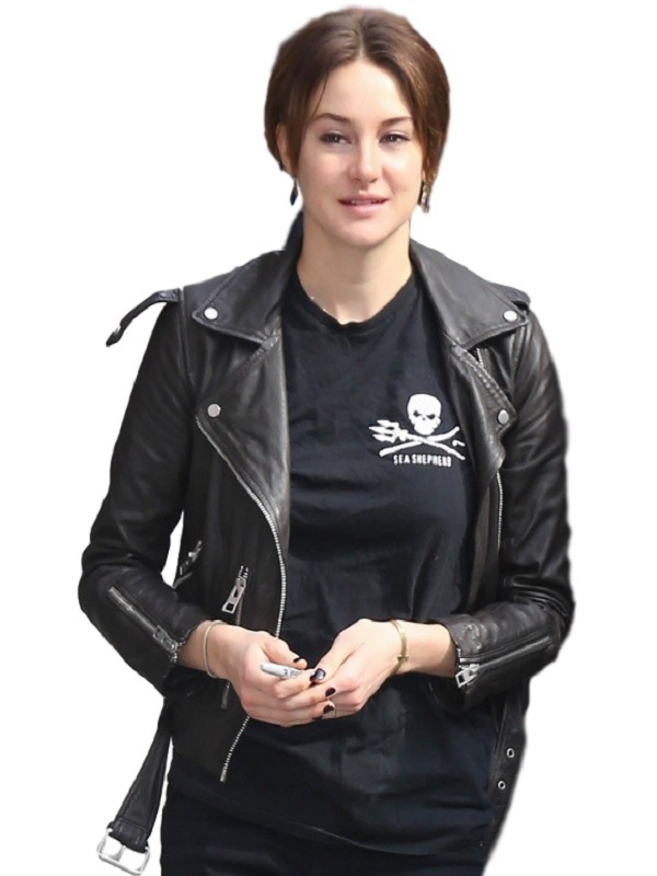 Shailene Woodley Attractive Black Leather Jacket