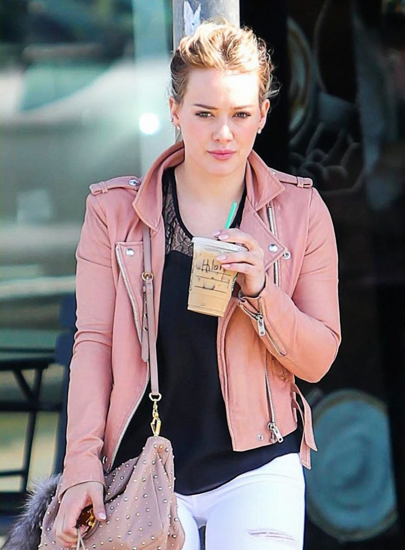 Hilary Duff lavender pink leather Jacket