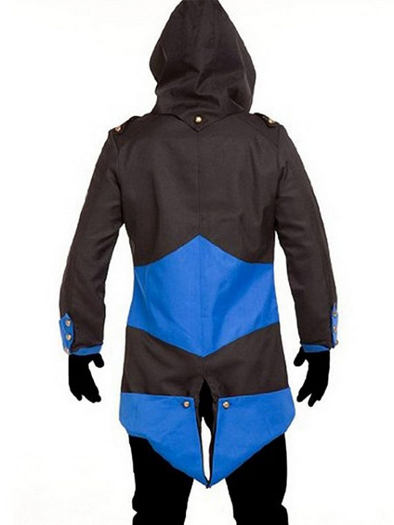Assassinas Creed 3 Black And Blue Cotton Coat Jacket