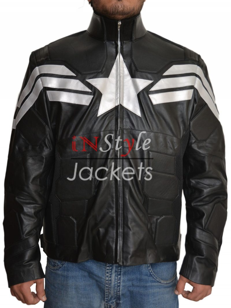 Captain America Black And White Leather Jacket