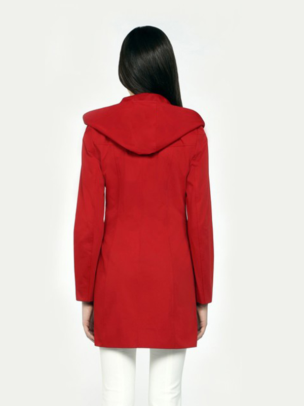 Elin Women Red Classic Rain Trench Coat With Removable Hood