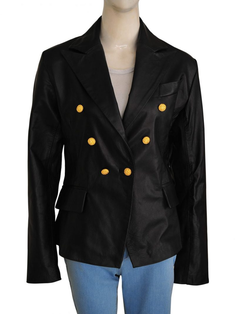 Kim Kardashian Leather Blazer Coat,