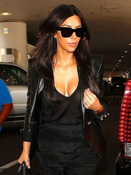 Kim Kardashian Paris Leather Blazer Coat, Kim Kardashian Black Coat,