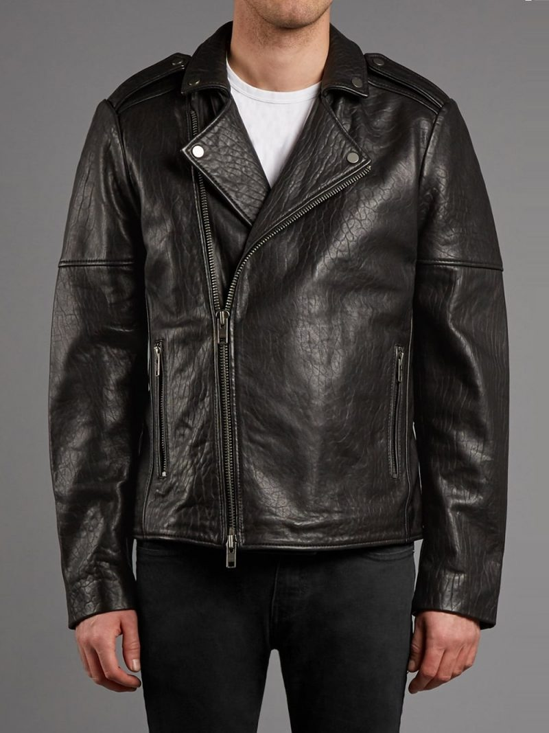 Men's Classic Textured Biker Jacket