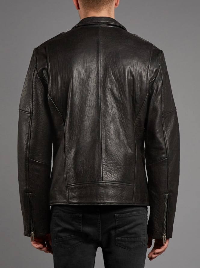 Men's Classic Textured Biker Leather Jacket