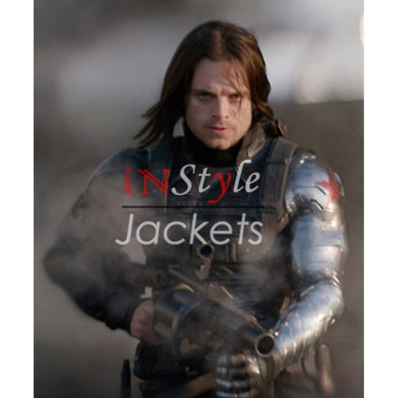 Silver Armor Leather Jacket Bucky Barnes
