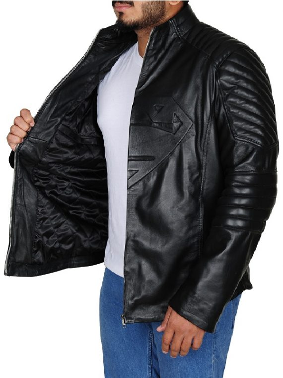 Superman Man Of Steel Black Leather Jacket