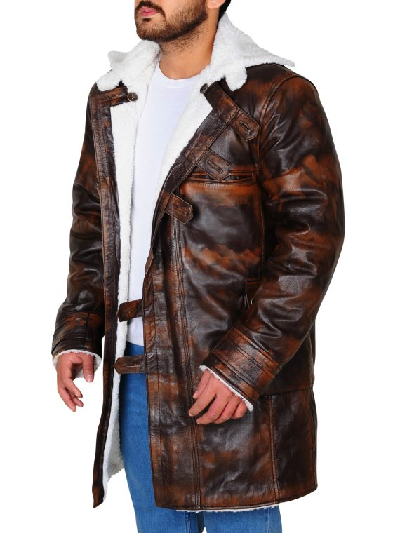 The Dark Knight Rises Distressed Leather Coat