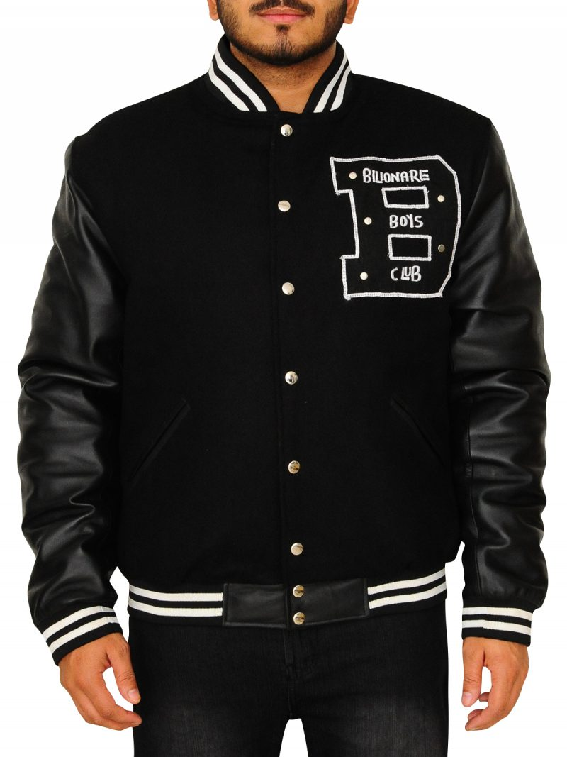 Letter B Leather Sleeves Jacket