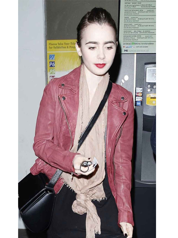 Lily Collins Leather Jacket