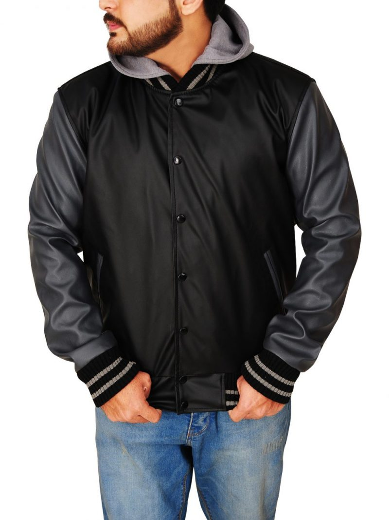 Obey Varsity Letterman Black Grey Hooded Jacket,