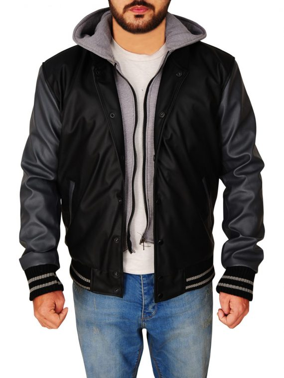 Obey Varsity Letterman Black and Grey Hooded Jacket,