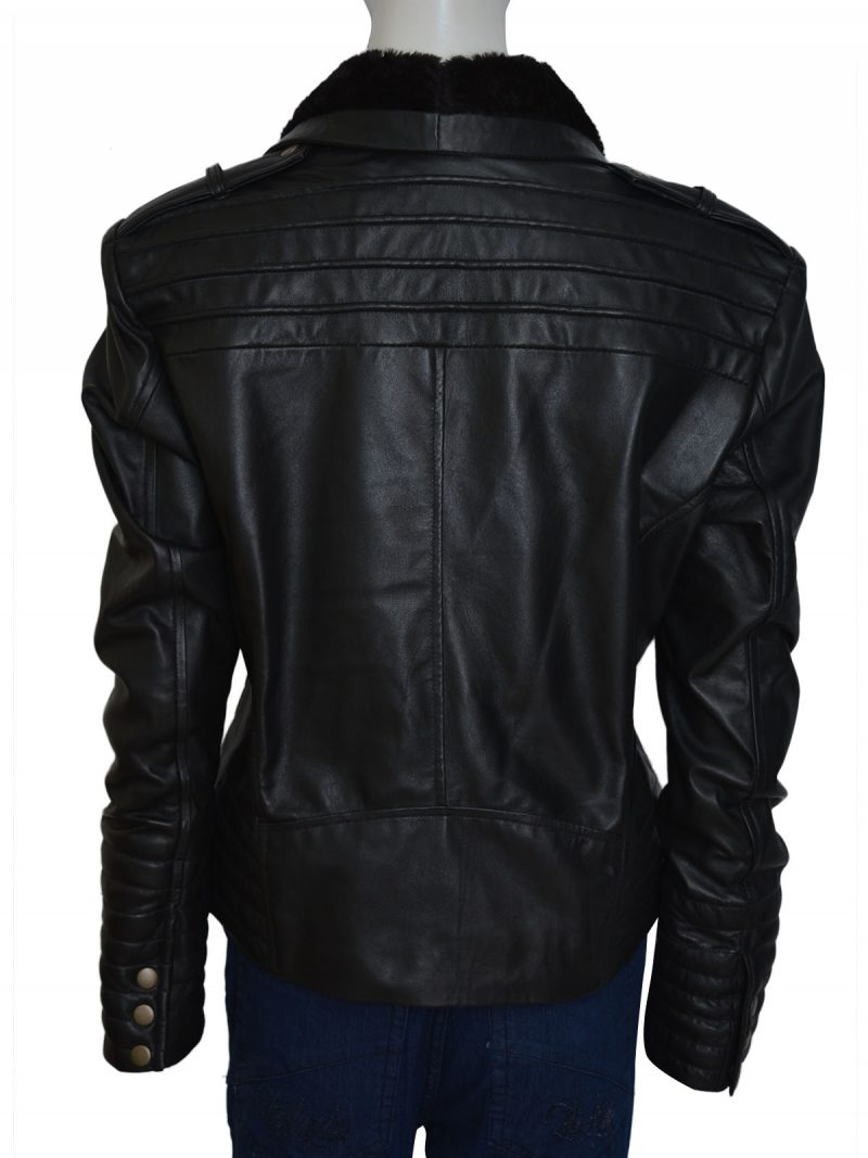 Asymmetrical Style Shawl Collar Ladies Leather Jacket