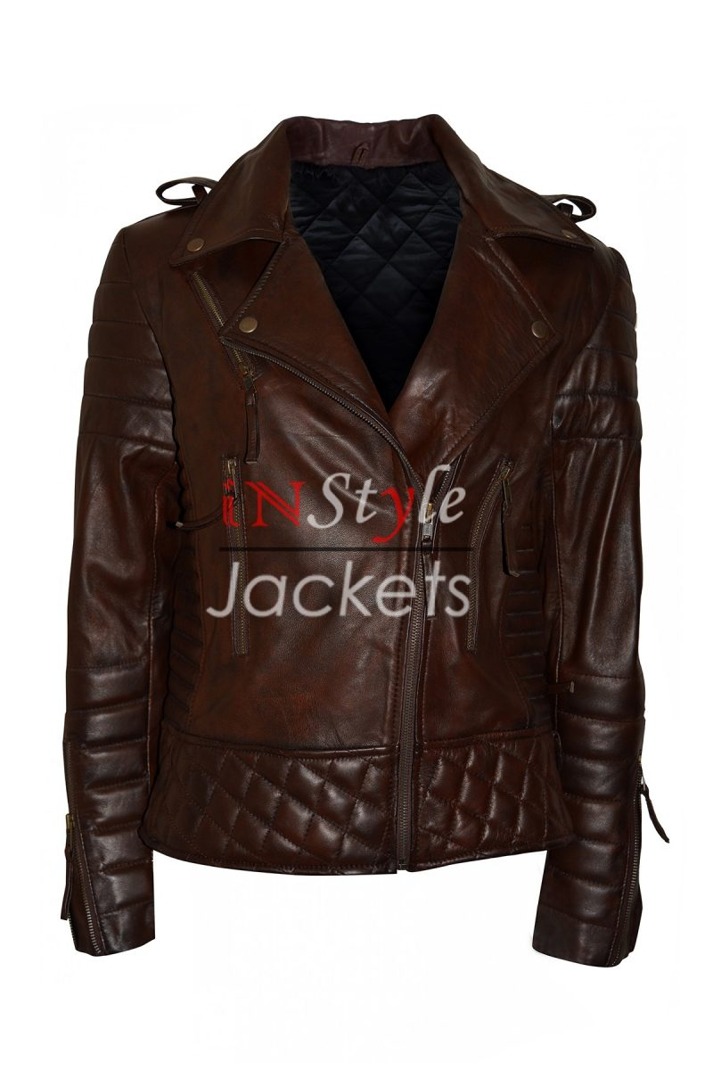 Kay Michaels Quilted Biker Brown Leather Jacket