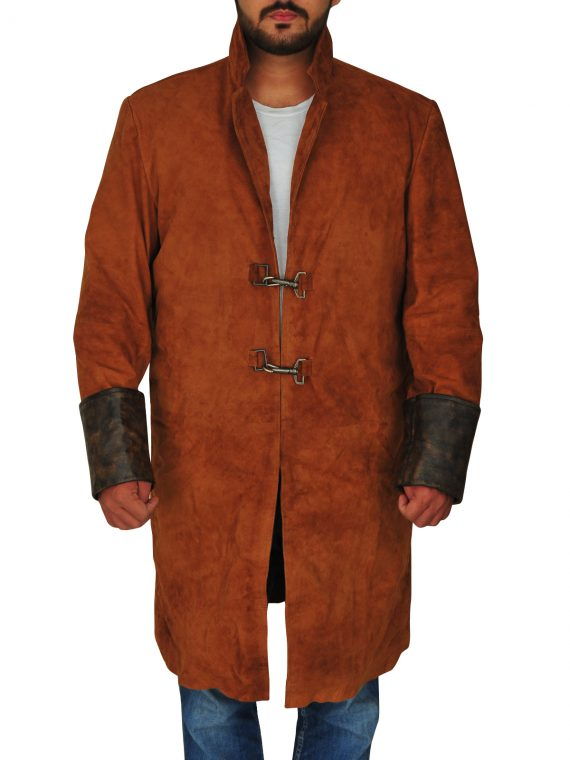 Nathan Fillion Firefly Captain Malcolm Suedu Leather Coat,