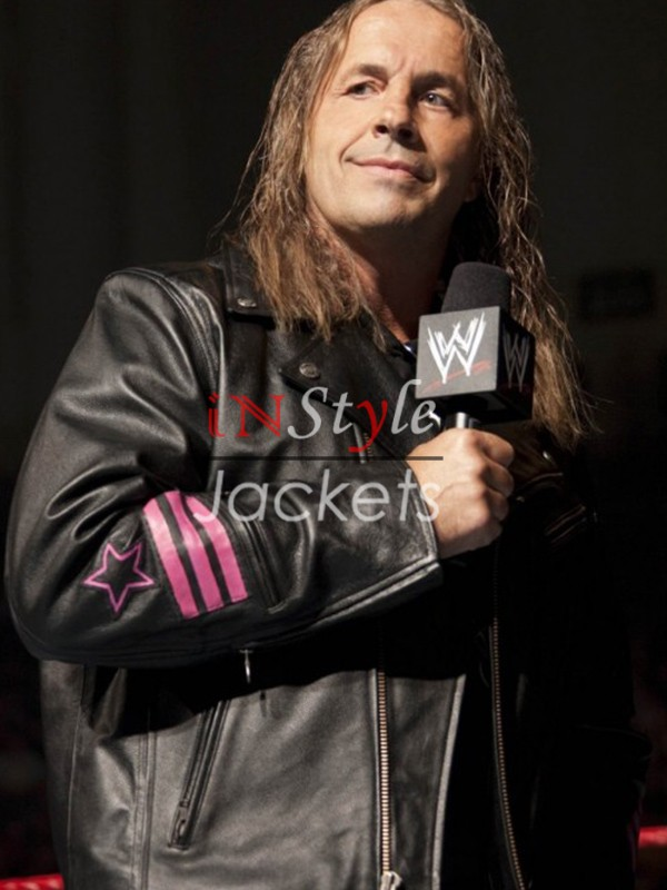 Bret Hart The Hitman WWE Black Letaher Jacket