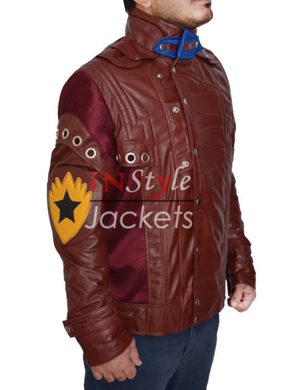 Star Lord Guardian Of Galaxy Red Leather Jacket