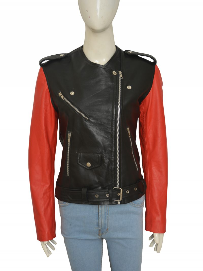 Black And Red Hailey Baldwin Leather Jacket