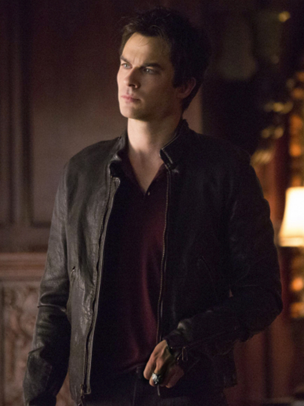 Damon Salvatore,Vampire-Diaries-Season-5-Black-Jacket,
