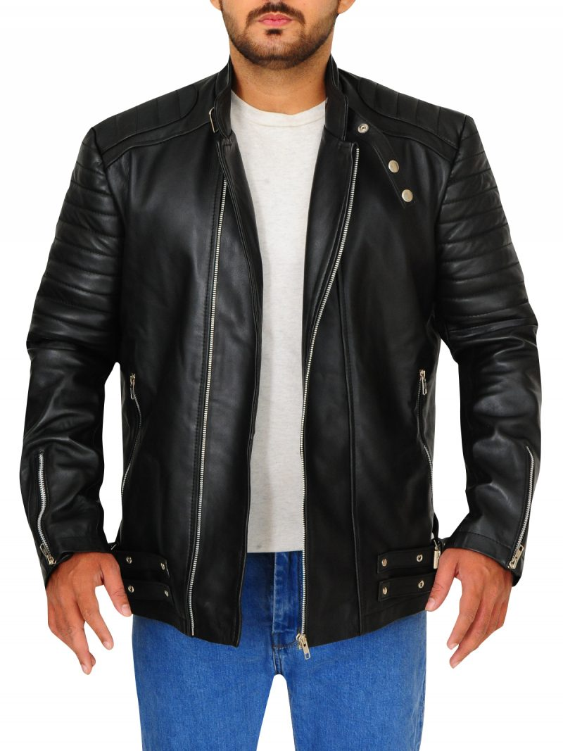 Deadpool Ed Skrein Black Leather Jacket,