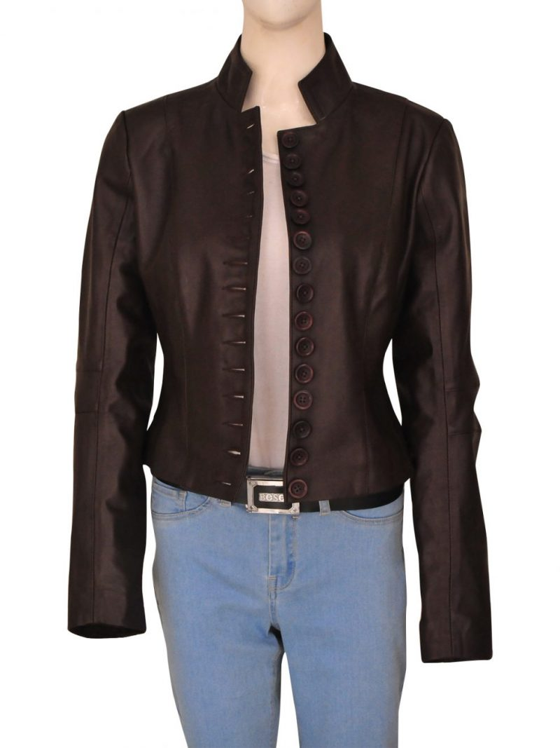 Elena Gilbert The Vampire Diaries Damon Brown Leather Jacket,