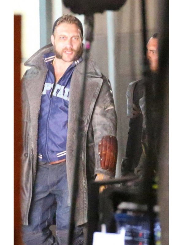 Jai Courtney Grey Leather Coat