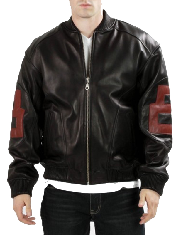 Men 8 Ball Black And Maroon Bomber Jacket