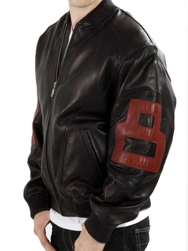 Men 8 Ball Black And Maroon Leather Jacket