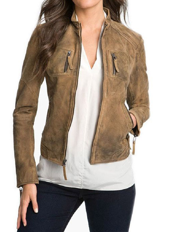 Nina Dobrev The Vampire Diaries Brown Jacket
