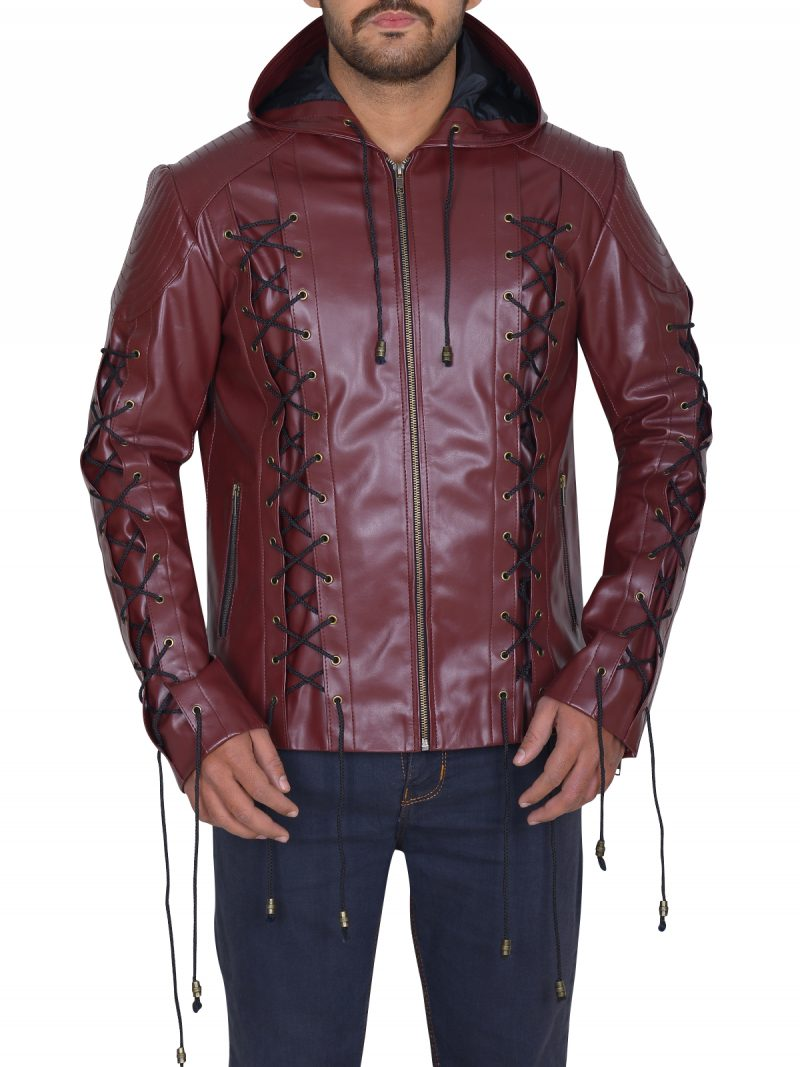 Arrow Roy Harpers Hooded Leather Jacket