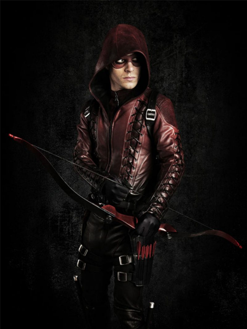 Arrow Season 3 Roy Harpers Hooded Leather Jacket