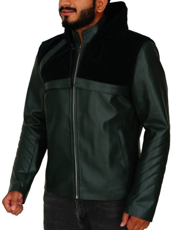 Stephen Amell Arrow Green Hooded Leather Jacket,