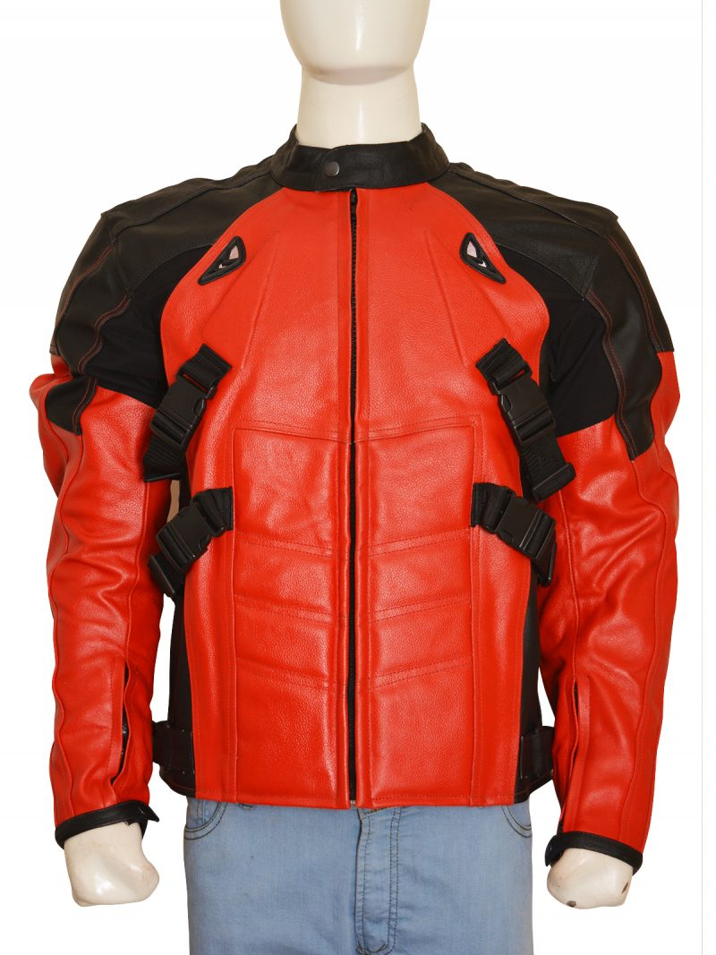 Armored Style Deadpool Motorbiker Leather Jacket