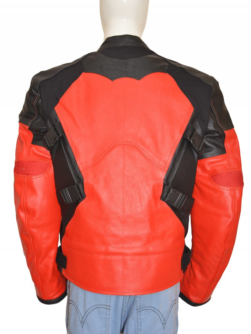 Deadpool Costume Red And Black Motorcycle Leather Jacket