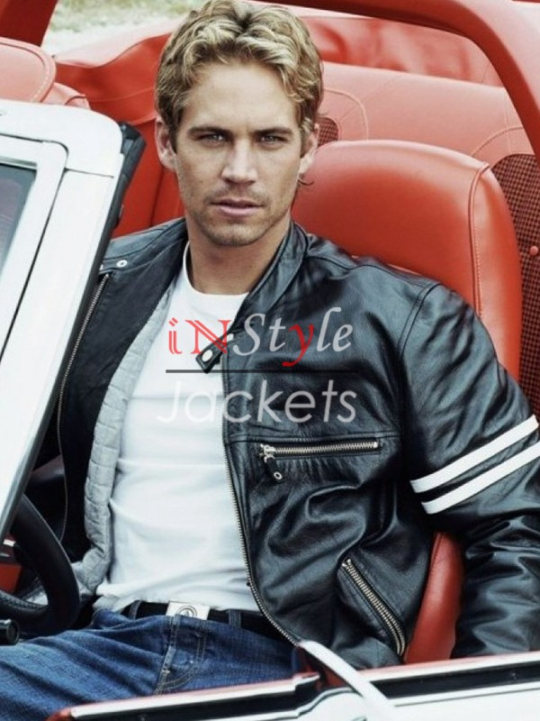 Paul Walker Biker Stripe Leather Jacket
