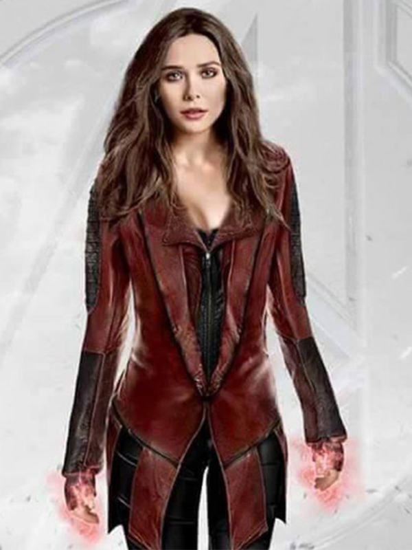 Elizabeth Olsen Leather Coat