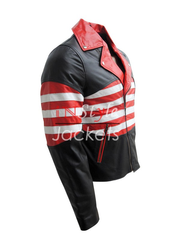 American Flag Design Leather Jacket