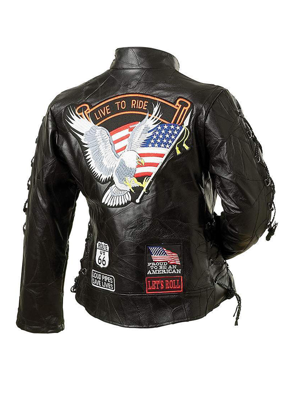 Bald Eagle American Flag Buffalo Leather Jacket