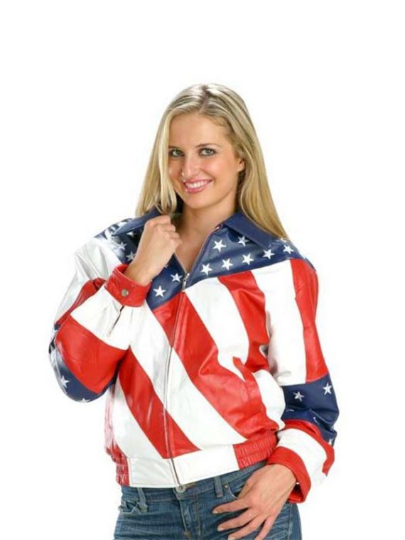 Exclusive American Flag Biker Leather Jacket