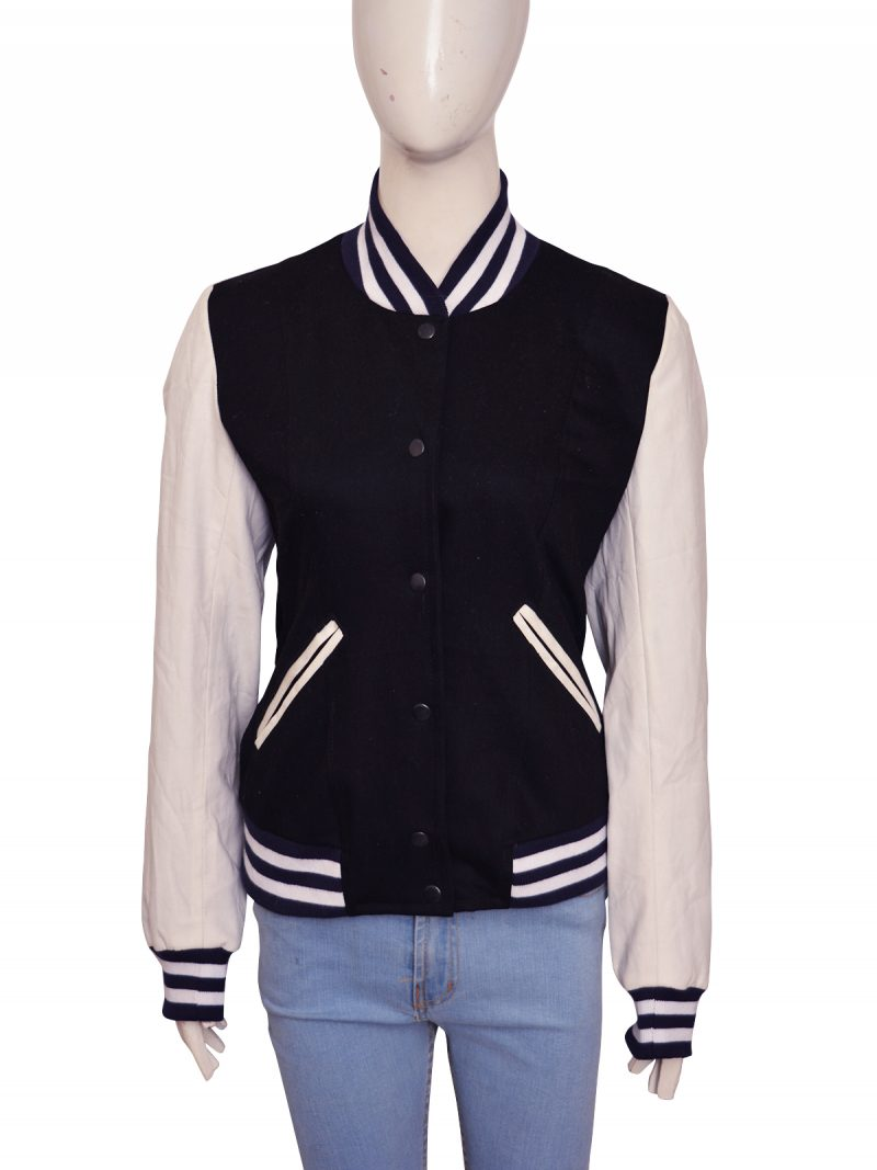 Kim Kardashian Black And White Varsity Bomber Jacket